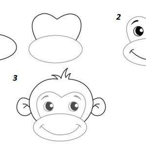 Поетапне малювання для дітей мавпи